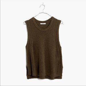 Edgestitch Sweater Vest in Olive